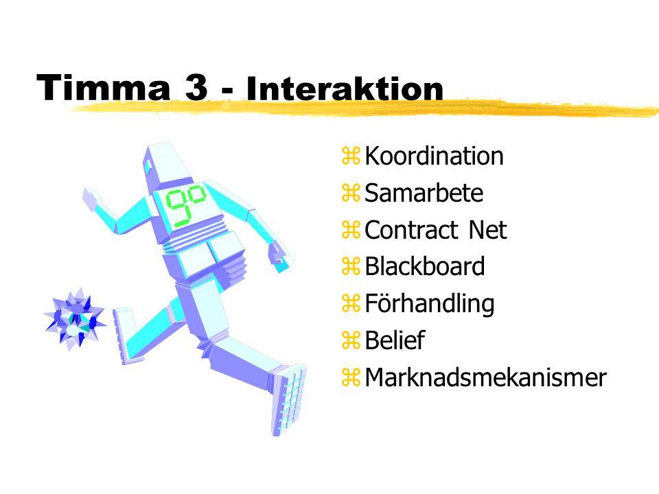 Timma 3 - Interaktion z Koordination z Samarbete z Contract Net z Blackboard z Förhandling z Belief z Marknadsmekanismer