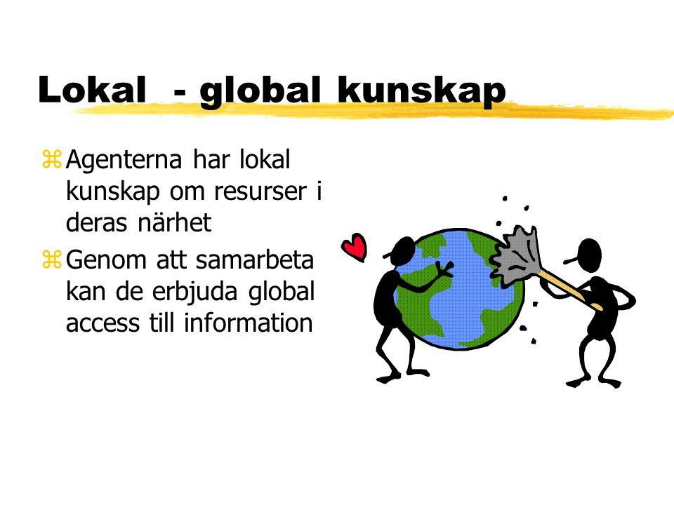 Lokal - global kunskap zAgenterna har lokal kunskap om resurser i deras närhet zGenom att samarbeta kan de erbjuda global access till information