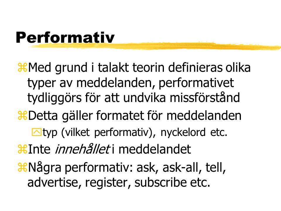 Performativ zMed grund i talakt teorin definieras olika typer av meddelanden, performativet tydliggörs för att undvika missförstånd zDetta gäller formatet för meddelanden ytyp (vilket performativ), nyckelord etc.