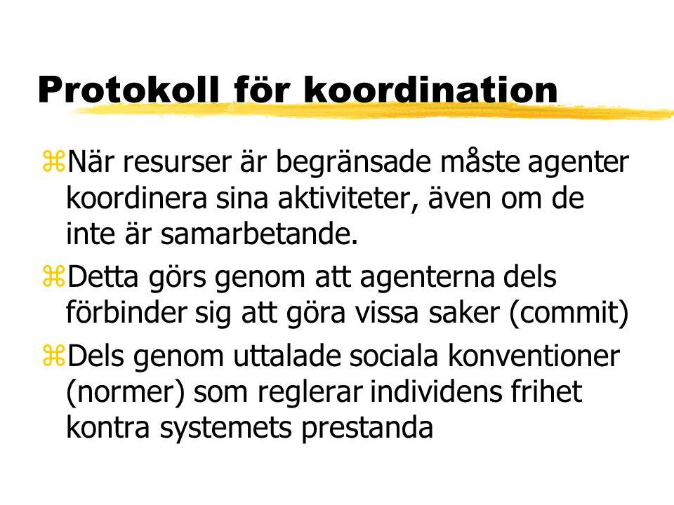 Protokoll för koordination zNär resurser är begränsade måste agenter koordinera sina aktiviteter, även om de inte är samarbetande.