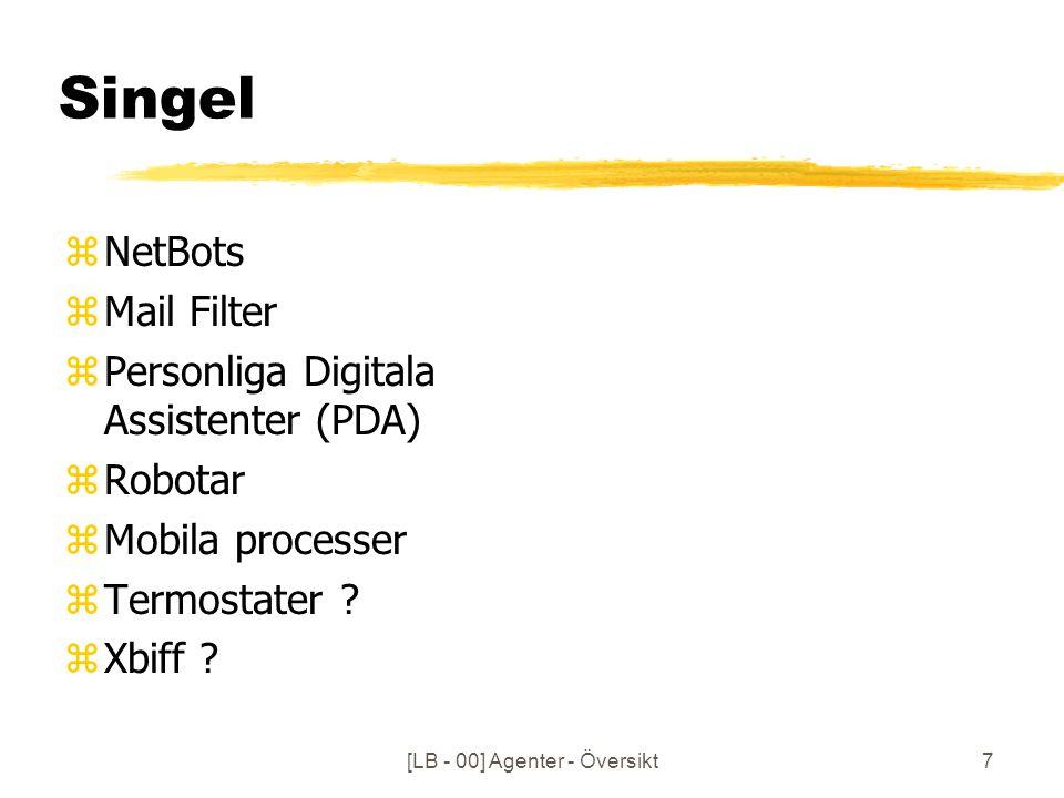 7 Singel zNetBots zMail Filter zPersonliga Digitala Assistenter (PDA) zRobotar zMobila processer zTermostater .