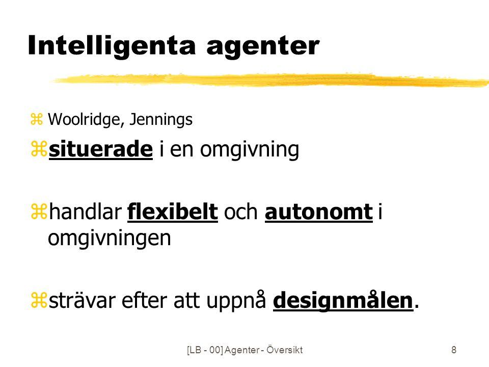 [LB - 00] Agenter - Översikt8 Intelligenta agenter zWoolridge, Jennings zsituerade i en omgivning zhandlar flexibelt och autonomt i omgivningen zsträvar efter att uppnå designmålen.