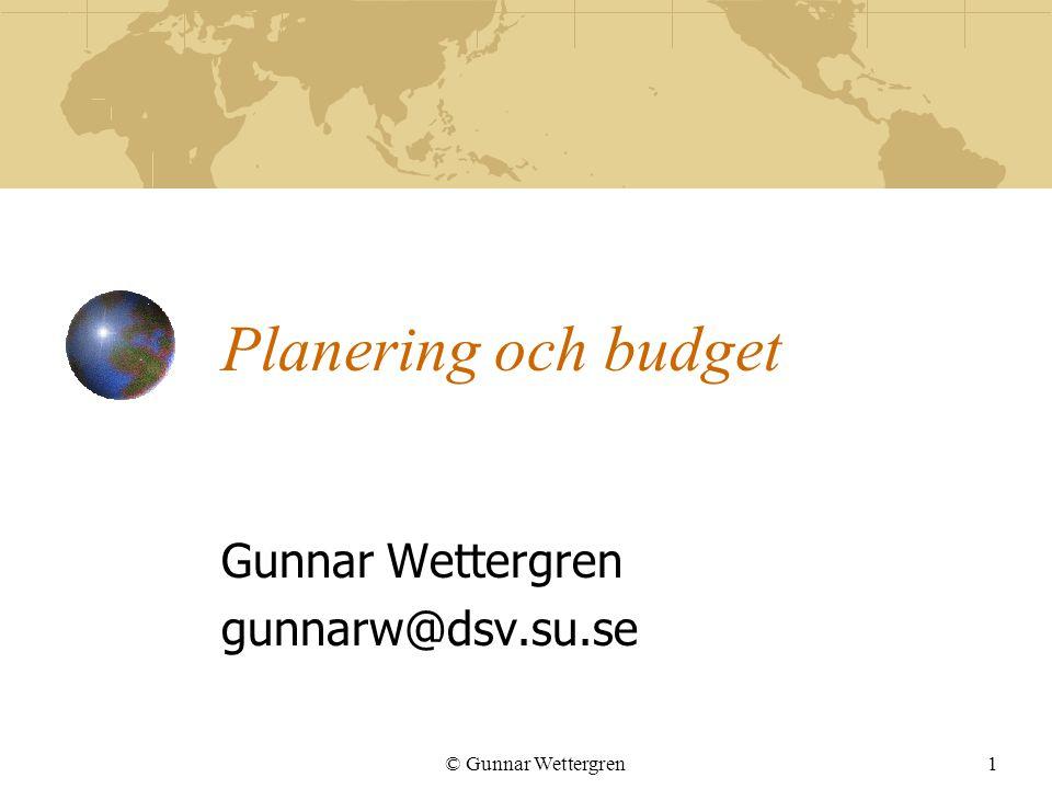 © Gunnar Wettergren12 Huvudplanen avslutad Utvärderingsmetoder Procedurer och standarder Procedurer för övervakning, uppsamling och lagring av data gällande projektet Potentiella problem Lista troliga problem