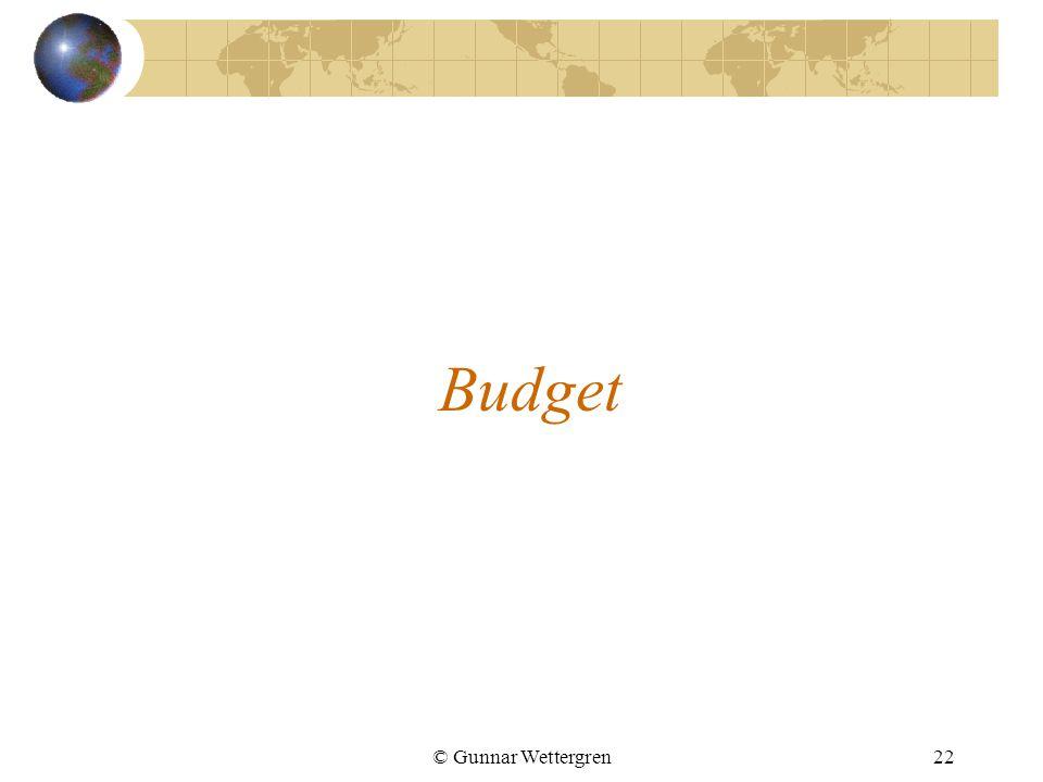 © Gunnar Wettergren22 Budget