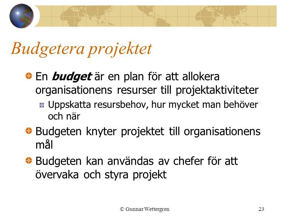 © Gunnar Wettergren23 Budgetera projektet En budget är en plan för att allokera organisationens resurser till projektaktiviteter Uppskatta resursbehov