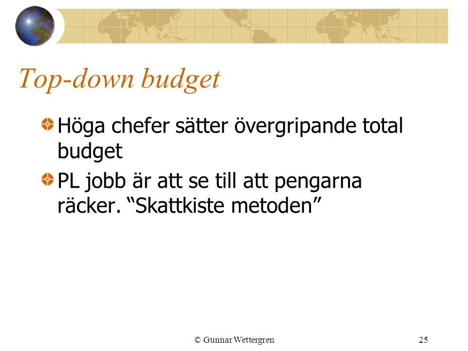 """© Gunnar Wettergren25 Top-down budget Höga chefer sätter övergripande total budget PL jobb är att se till att pengarna räcker. """"Skattkiste metoden"""""""