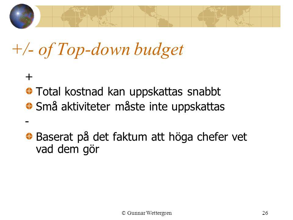 © Gunnar Wettergren26 +/- of Top-down budget + Total kostnad kan uppskattas snabbt Små aktiviteter måste inte uppskattas - Baserat på det faktum att h