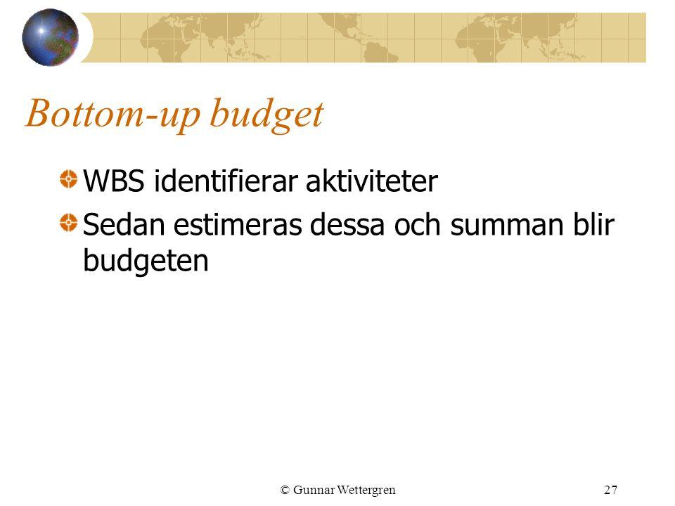 © Gunnar Wettergren27 Bottom-up budget WBS identifierar aktiviteter Sedan estimeras dessa och summan blir budgeten
