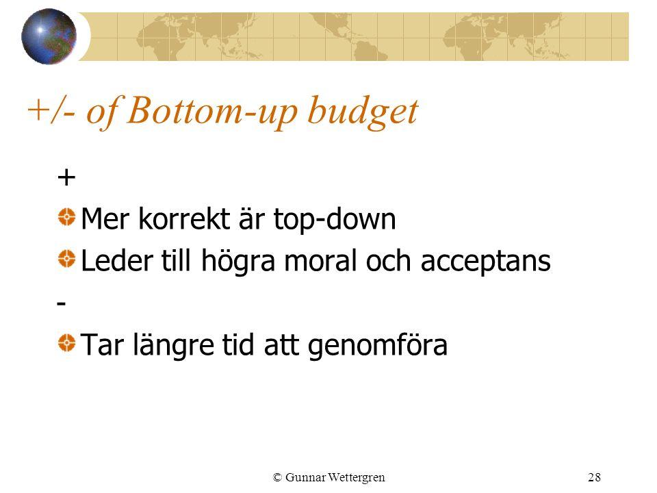 © Gunnar Wettergren28 +/- of Bottom-up budget + Mer korrekt är top-down Leder till högra moral och acceptans - Tar längre tid att genomföra