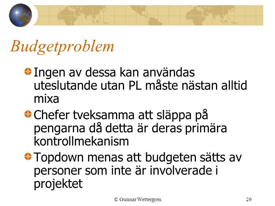 © Gunnar Wettergren29 Budgetproblem Ingen av dessa kan användas uteslutande utan PL måste nästan alltid mixa Chefer tveksamma att släppa på pengarna d