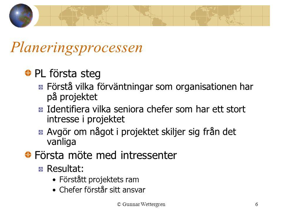 © Gunnar Wettergren6 Planeringsprocessen PL första steg Förstå vilka förväntningar som organisationen har på projektet Identifiera vilka seniora chefe