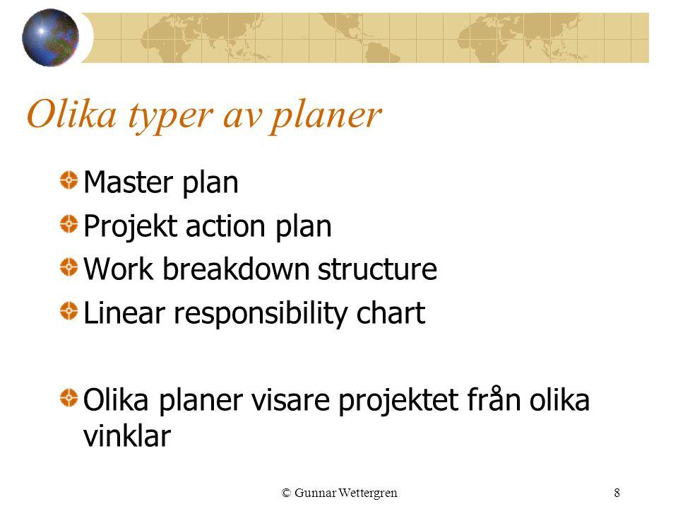 © Gunnar Wettergren9 Huvudplanen Overview Beskrivning av projektet Vad som skall levereras Milstenar Förväntat värde för kunden (Till för seniora chefer) Mål Detaljerad beskrivning av vad projektet skall leverera Projektets mission