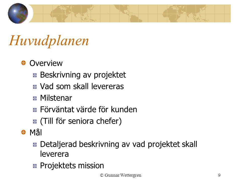 © Gunnar Wettergren9 Huvudplanen Overview Beskrivning av projektet Vad som skall levereras Milstenar Förväntat värde för kunden (Till för seniora chef