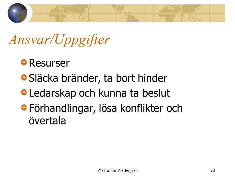 © Gunnar Wettergren28 Ansvar/Uppgifter Resurser Släcka bränder, ta bort hinder Ledarskap och kunna ta beslut Förhandlingar, lösa konflikter och överta