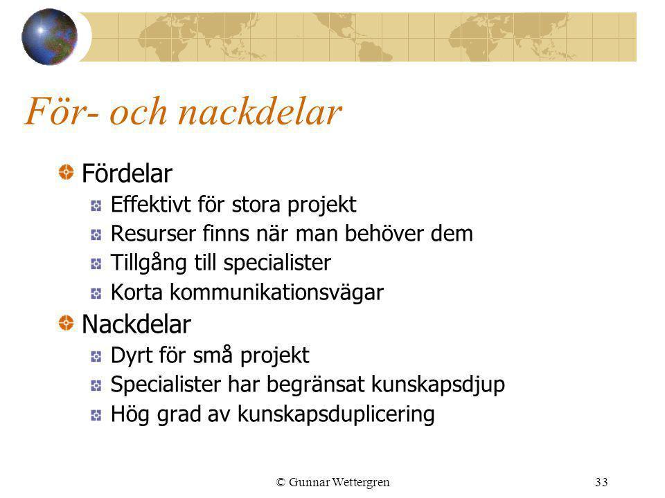 © Gunnar Wettergren33 För- och nackdelar Fördelar Effektivt för stora projekt Resurser finns när man behöver dem Tillgång till specialister Korta komm