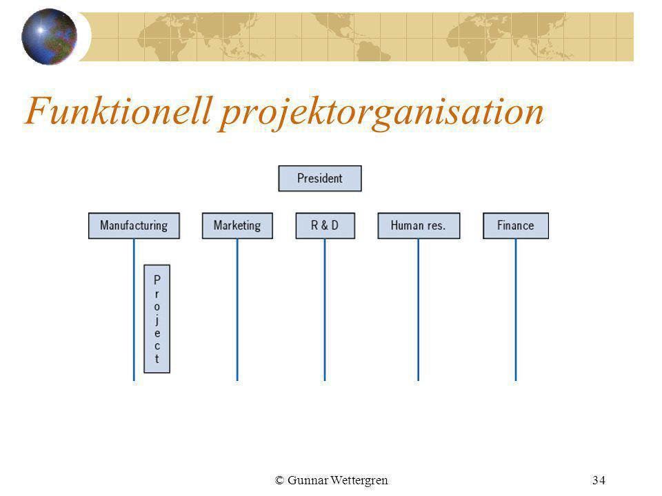 © Gunnar Wettergren34 Funktionell projektorganisation