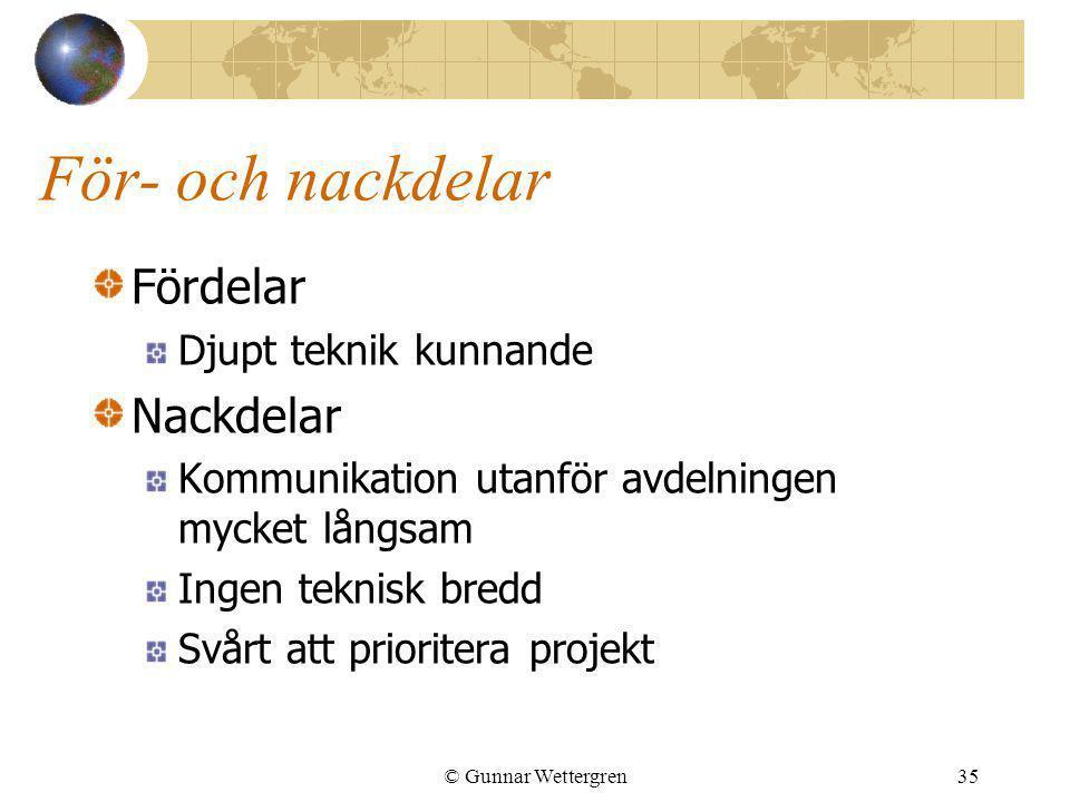 © Gunnar Wettergren35 För- och nackdelar Fördelar Djupt teknik kunnande Nackdelar Kommunikation utanför avdelningen mycket långsam Ingen teknisk bredd