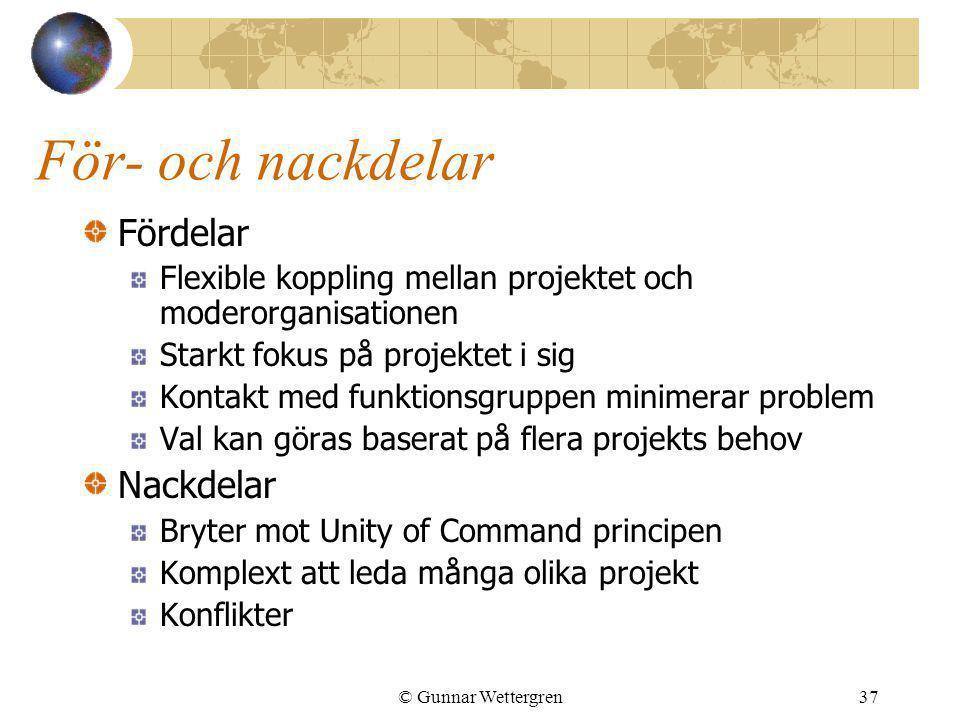 © Gunnar Wettergren37 För- och nackdelar Fördelar Flexible koppling mellan projektet och moderorganisationen Starkt fokus på projektet i sig Kontakt m
