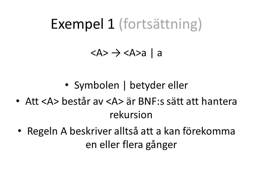 Exempel 1 (fortsättning) → a | a Symbolen | betyder eller Att består av är BNF:s sätt att hantera rekursion Regeln A beskriver alltså att a kan förekomma en eller flera gånger