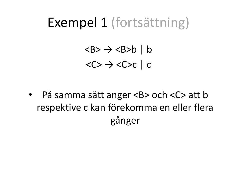 Exempel 1 (fortsättning) Slutsats: → anger att det beskrivna språket består av ett eller flera a följt av ett eller flera b följt av ett eller flera c
