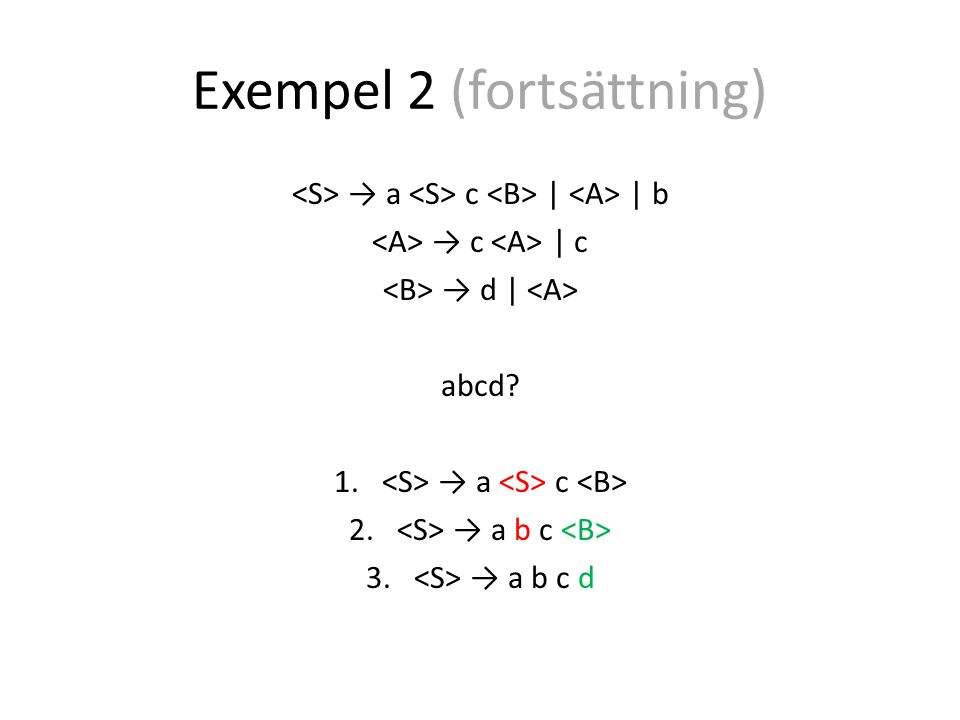 Exempel 2 (fortsättning) → a c | | b → c | c → d | abcd 1. → a c 2. → a b c 3. → a b c d