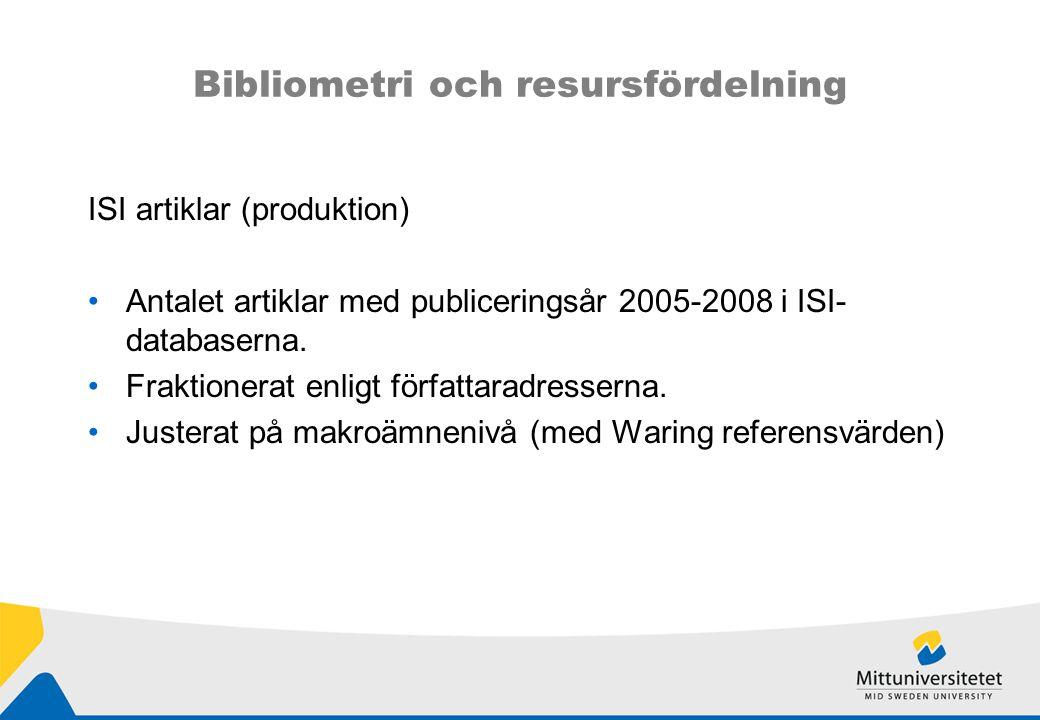Bibliometri och resursfördelning ISI artiklar (produktion) Antalet artiklar med publiceringsår 2005-2008 i ISI- databaserna.