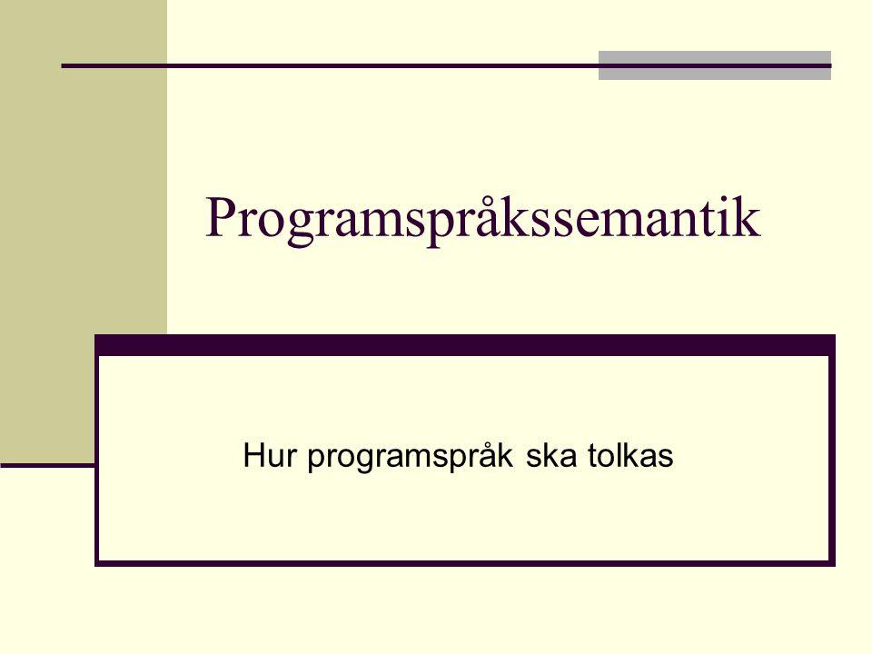 Programspråkssemantik Hur programspråk ska tolkas