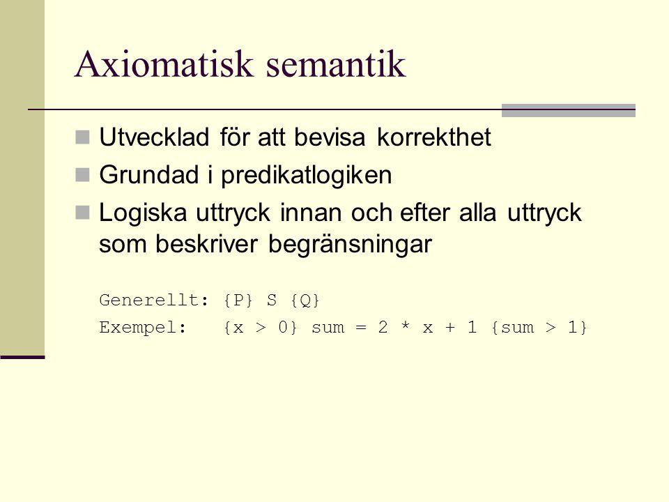 Axiomatisk semantik Utvecklad för att bevisa korrekthet Grundad i predikatlogiken Logiska uttryck innan och efter alla uttryck som beskriver begränsningar Generellt: {P} S {Q} Exempel: {x > 0} sum = 2 * x + 1 {sum > 1}