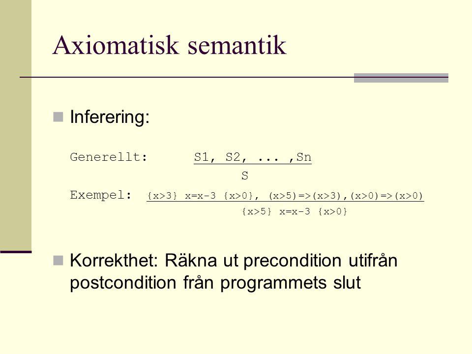 Axiomatisk semantik Inferering: Generellt:S1, S2,...,Sn S Exempel: {x>3} x=x-3 {x>0}, (x>5)=>(x>3),(x>0)=>(x>0) {x>5} x=x-3 {x>0} Korrekthet: Räkna ut precondition utifrån postcondition från programmets slut