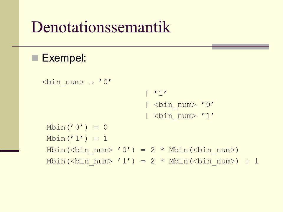 Denotationssemantik Exempel: → '0' | '1' | '0' | '1' Mbin('0') = 0 Mbin('1') = 1 Mbin( '0') = 2 * Mbin( ) Mbin( '1') = 2 * Mbin( ) + 1
