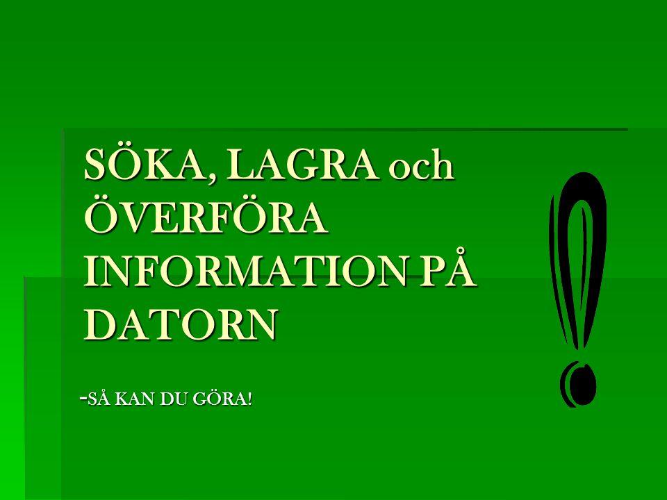 SÖKA, LAGRA och ÖVERFÖRA INFORMATION PÅ DATORN - SÅ KAN DU GÖRA!