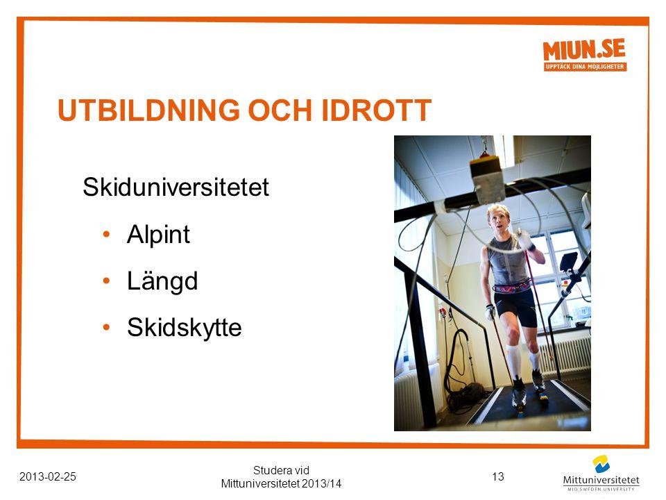 UTBILDNING OCH IDROTT 2013-02-2513 Studera vid Mittuniversitetet 2013/14 Skiduniversitetet Alpint Längd Skidskytte