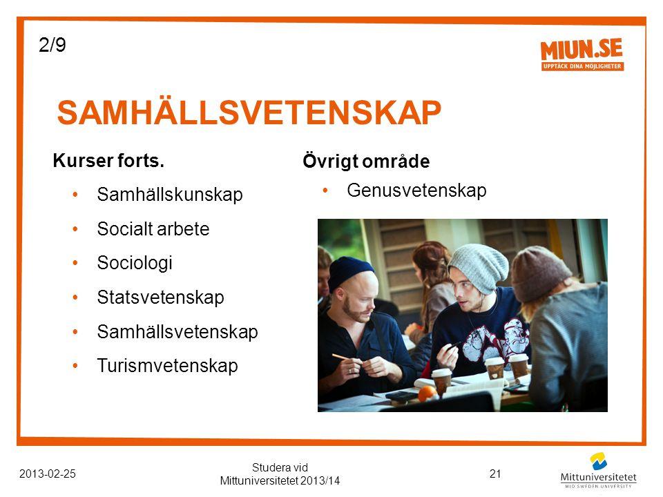SAMHÄLLSVETENSKAP 2013-02-2521 Studera vid Mittuniversitetet 2013/14 Kurser forts.