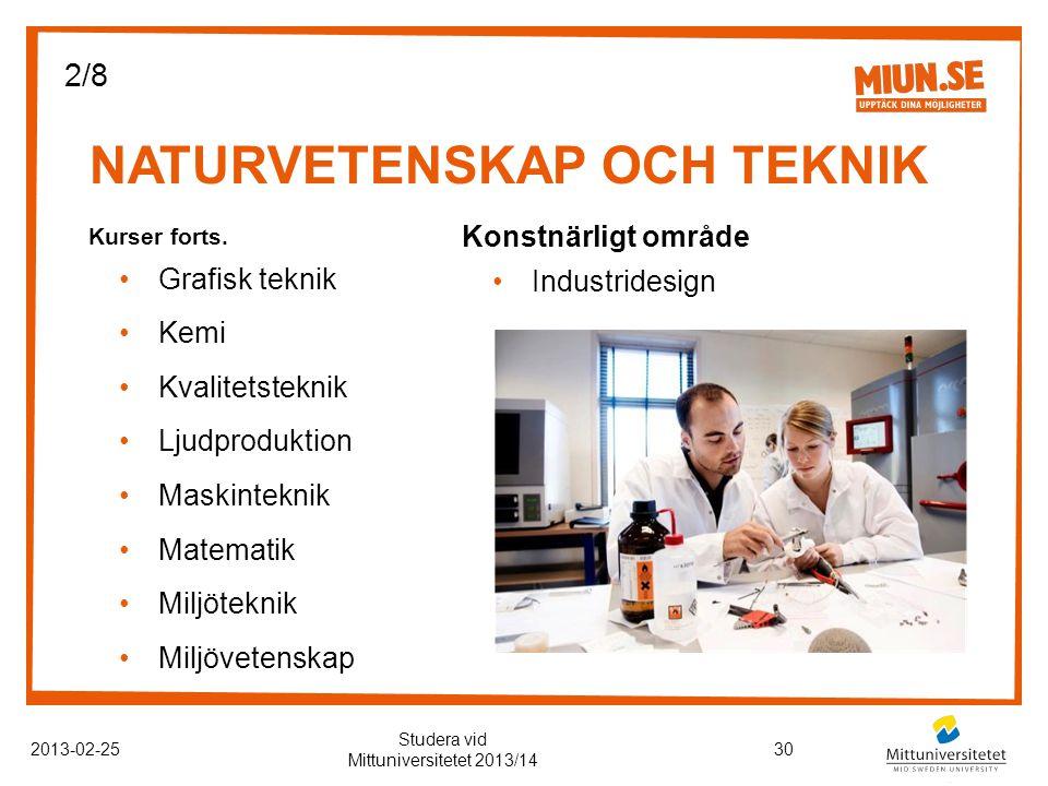 NATURVETENSKAP OCH TEKNIK 2013-02-2530 Studera vid Mittuniversitetet 2013/14 Kurser forts.