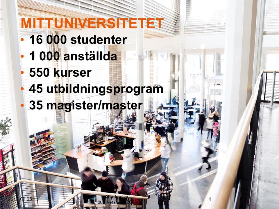 16 000 studenter 1 000 anställda 550 kurser 45 utbildningsprogram 35 magister/master MITTUNIVERSITETET 2013-02-254 Studera vid Mittuniversitetet 2013/14