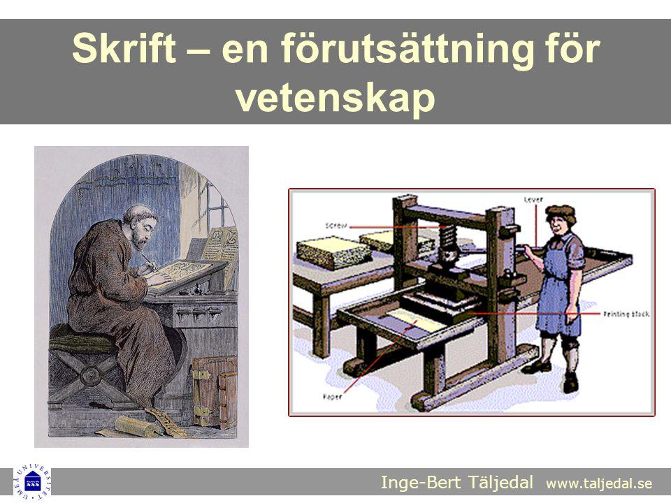 Inge-Bert Täljedal www.taljedal.se Skrift – en förutsättning för vetenskap