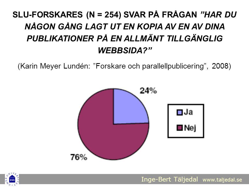 Inge-Bert Täljedal www.taljedal.se SLU-FORSKARES (N = 254) SVAR PÅ FRÅGAN HAR DU NÅGON GÅNG LAGT UT EN KOPIA AV EN AV DINA PUBLIKATIONER PÅ EN ALLMÄNT TILLGÄNGLIG WEBBSIDA (Karin Meyer Lundén: Forskare och parallellpublicering , 2008)