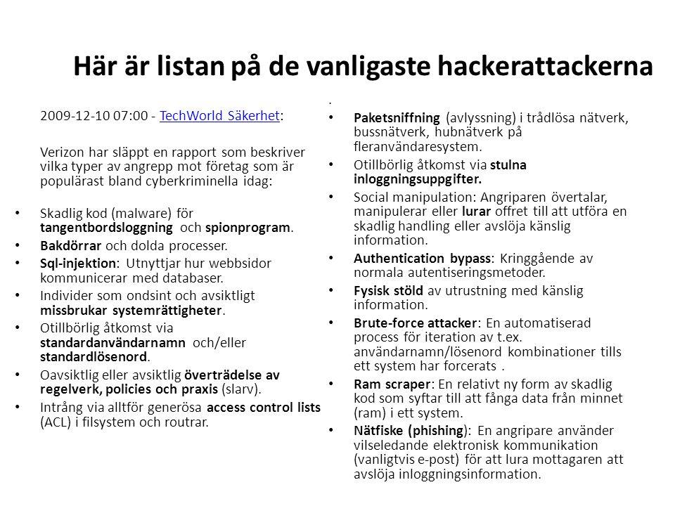 Här är listan på de vanligaste hackerattackerna 2009-12-10 07:00 - TechWorld Säkerhet:TechWorld Säkerhet Verizon har släppt en rapport som beskriver vilka typer av angrepp mot företag som är populärast bland cyberkriminella idag: Skadlig kod (malware) för tangentbordsloggning och spionprogram.
