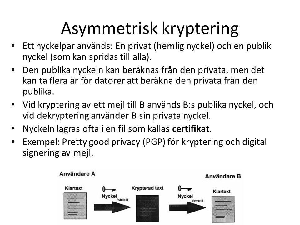 Asymmetrisk kryptering Ett nyckelpar används: En privat (hemlig nyckel) och en publik nyckel (som kan spridas till alla). Den publika nyckeln kan berä