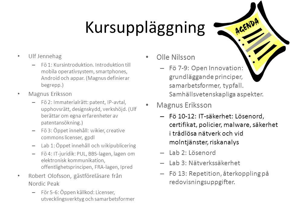 Kursuppläggning Ulf Jennehag – Fö 1: Kursintroduktion. Introduktion till mobila operativsystem, smartphones, Android och appar. (Magnus definierar beg