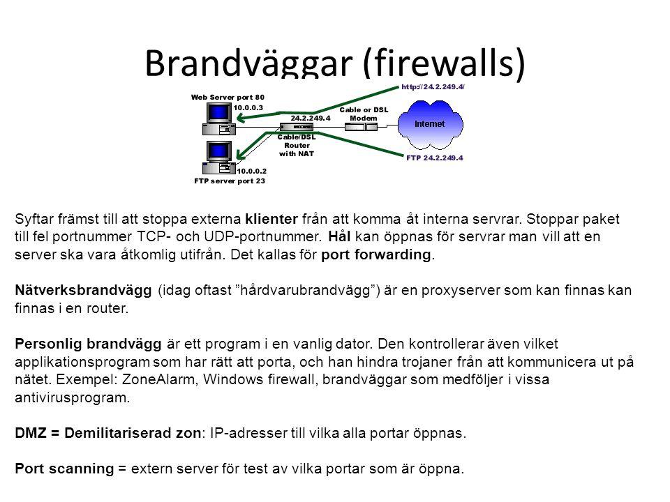 Brandväggar (firewalls) Syftar främst till att stoppa externa klienter från att komma åt interna servrar. Stoppar paket till fel portnummer TCP- och U