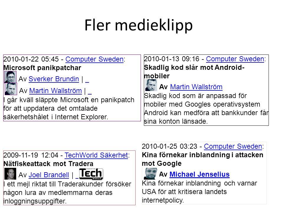 Fler medieklipp 2009-11-19 12:04 - TechWorld Säkerhet:TechWorld Säkerhet Nätfiskeattack mot Tradera Av Joel Brandell | Joel Brandell I ett mejl riktat