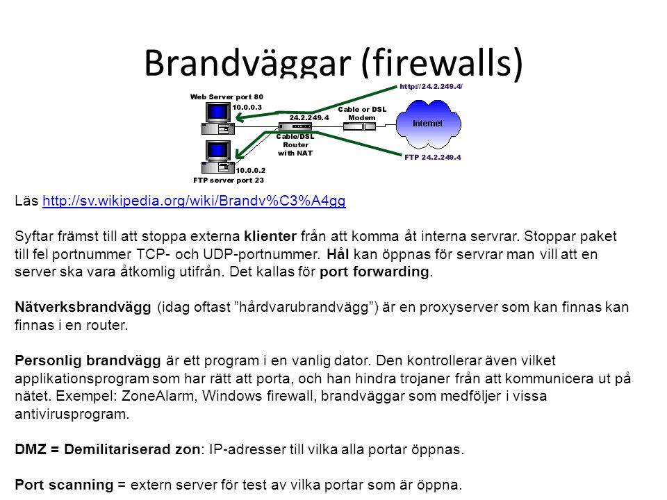 Brandväggar (firewalls) Läs http://sv.wikipedia.org/wiki/Brandv%C3%A4gghttp://sv.wikipedia.org/wiki/Brandv%C3%A4gg Syftar främst till att stoppa externa klienter från att komma åt interna servrar.