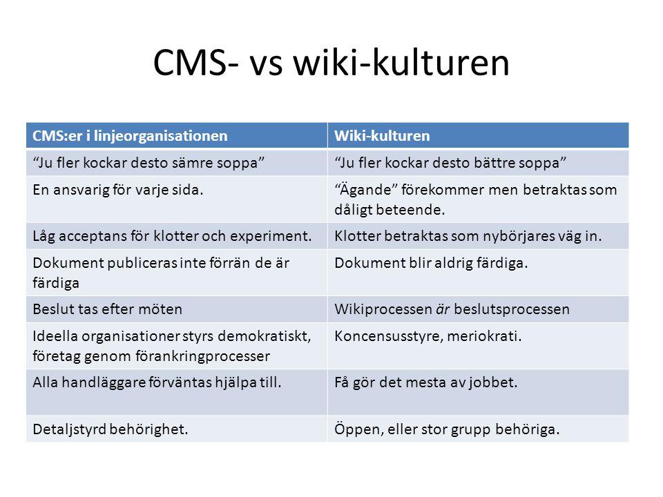 """CMS- vs wiki-kulturen CMS:er i linjeorganisationenWiki-kulturen """"Ju fler kockar desto sämre soppa""""""""Ju fler kockar desto bättre soppa"""" En ansvarig för"""