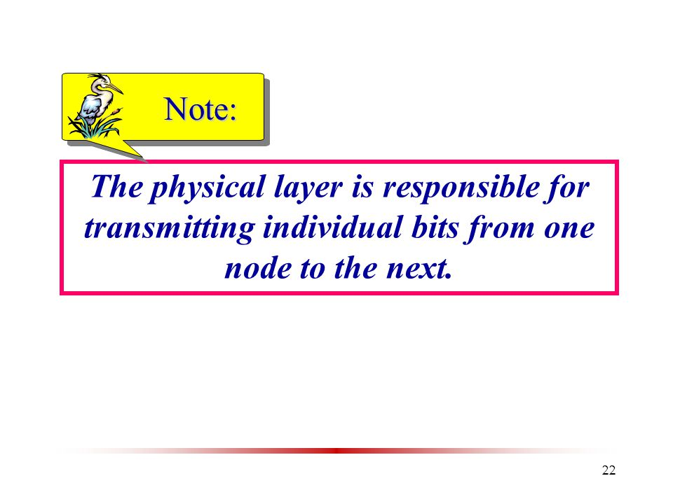 22 The physical layer is responsible for transmitting individual bits from one node to the next. Note: