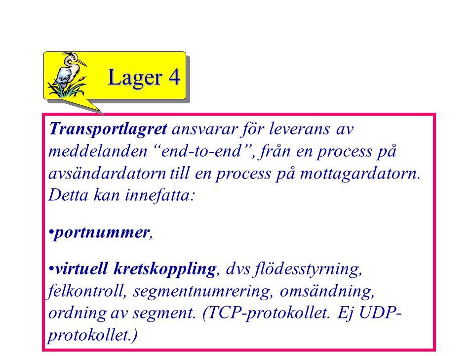 """41 Transportlagret ansvarar för leverans av meddelanden """"end-to-end"""", från en process på avsändardatorn till en process på mottagardatorn. Detta kan i"""