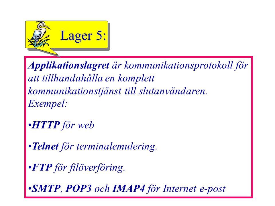 44 Applikationslagret är kommunikationsprotokoll för att tillhandahålla en komplett kommunikationstjänst till slutanvändaren. Exempel: HTTP för web Te