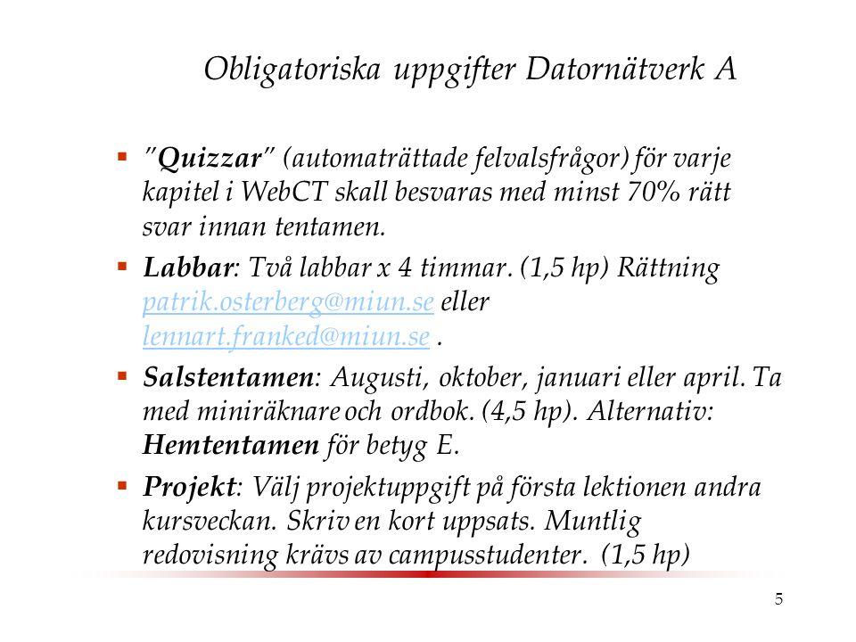 """5 Obligatoriska uppgifter Datornätverk A  """"Quizzar"""" (automaträttade felvalsfrågor) för varje kapitel i WebCT skall besvaras med minst 70% rätt svar i"""