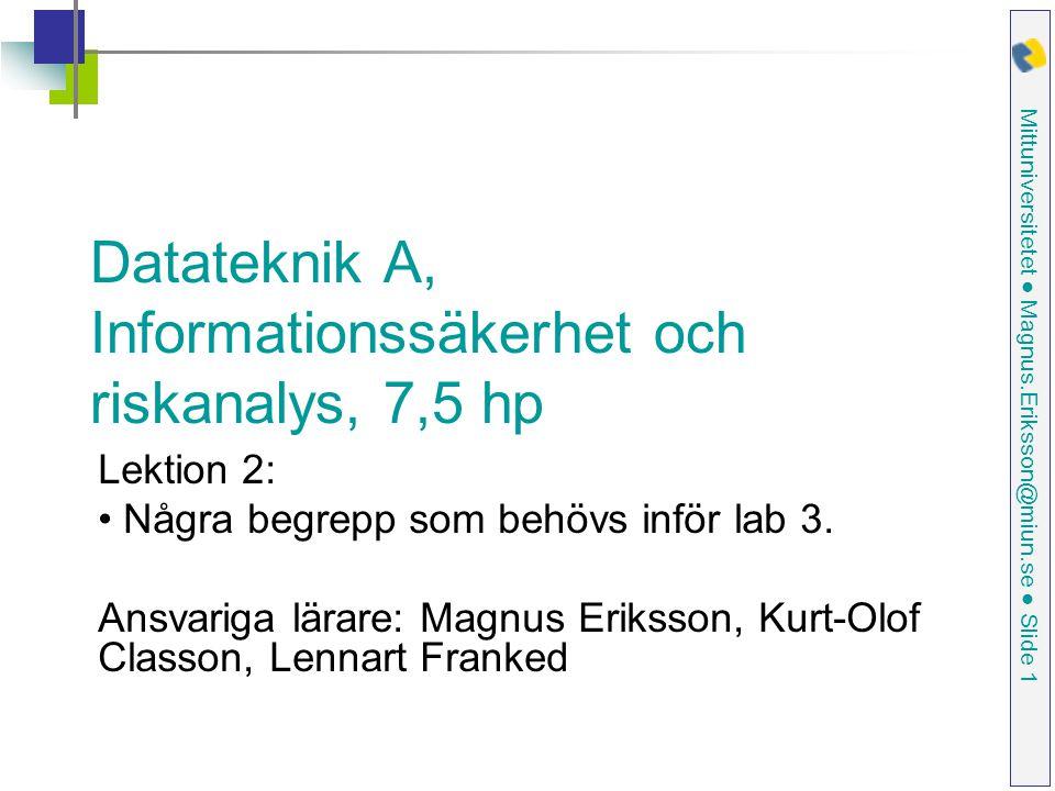 Mittuniversitetet ● Magnus.Eriksson@miun.se ● Slide 1 Datateknik A, Informationssäkerhet och riskanalys, 7,5 hp Lektion 2: Några begrepp som behövs inför lab 3.