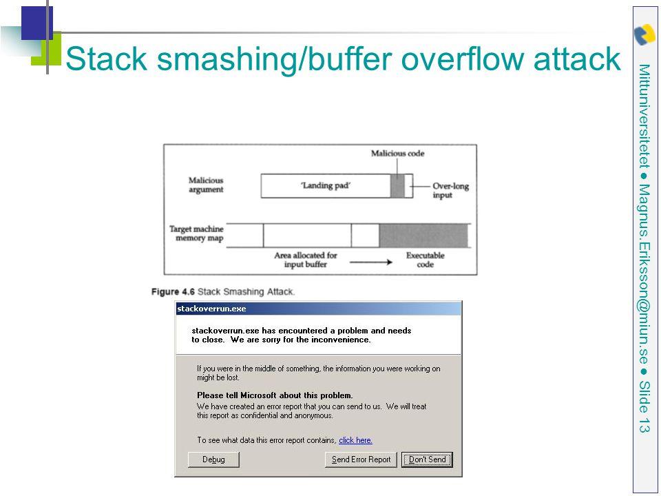 Mittuniversitetet ● Magnus.Eriksson@miun.se ● Slide 13 Stack smashing/buffer overflow attack